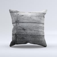 Gray Worn Wooden Planks Ink-Fuzed Decorative Throw Pillow