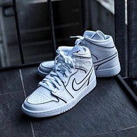 Bunchsun Air Jordan 1 Mid White Black 3M Laser Mid Sneakers Basketball Shoes