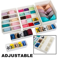 Adjustable Drawer Organizers (6 Set) With Customizable Dividers in Stackable Durable Plastic for Underwear Kitchen Crafts Baby Clothes Office Bathroom & Under Sink Storage by Uncluttered Designs
