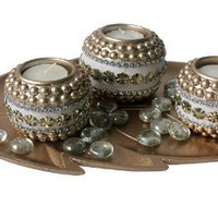 Set of 2 Wooden Tealight Candle Holders w/ Golden Leaf Wooden Tray & Glass Ma...