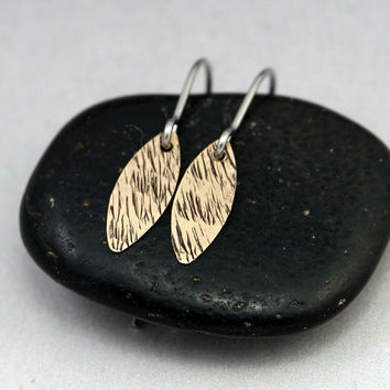 Small Gold Earrings - Tiny Petal Earrings with Grass Texture