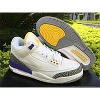 Air Jordan 3 Retro White/Purple Sneaker Shoes 36-47