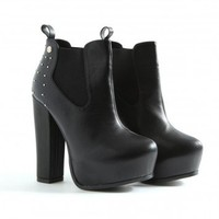 Missguided - Ryzea Leather Ankle Stud Boots In Black