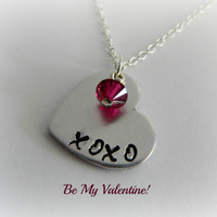 "Valentine Necklace / ""XOXO"" Hand Stamped Heart Shaped Necklace with Crystal / Anniversary Gift / Girlfriend Necklace / Hugs and Kisses"