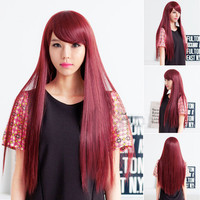 New Fashion Women's Lady Long Straight Hair Full Wigs Side Bangs Cosplay Party