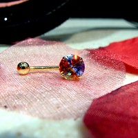 14K Yellow Gold Prong Set Multi Color Gem Belly Ring