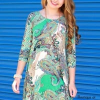 Jade Paisley Printed Dress with Side Pockets