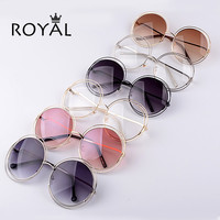 Pretty Quality Women brand designer Sunglasses Oversize Unique Round wire Sun glasses Gradient eyeglasses shade ss652