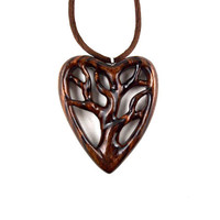 Heart Pendant Necklace, Tree of Life Necklace, Wooden Tree of Life Pendant, Wood Heart Pendant, 5th Anniversary Gift, Tree Pendant Necklace