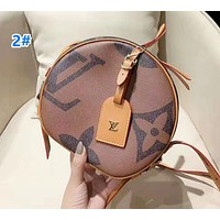 Louis Vuitton Fashion casual wild color matching printed soft round cake bag shoulder Messenger bag 2#