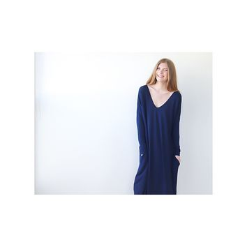 Blue Maxi Knitted dress, with long sleeves, Winter dress