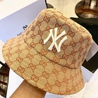 GUCCI x NY Fashion Women Men Jacquard Embroidery Sun Cap Fisherman Hat