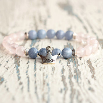 bracelet women princess beaded bracelet gemstone rose quartz aquamarine jewelry cute gift idea for her girls charm blue pink wife daughter