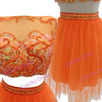Sexy bateau Appliques Sequins Empire Waist Tulle Mini-Length Cocktail dresses/prom dress/homecoming dress A112