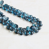 49% Off Sale Outrageous London Blue Topaz Briolette Gemstone Faceted Pear TearDrop 9 to 9.5mm 4 beads