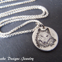 Wolf necklace Recycled silver pendant wolf jewelry