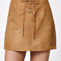 Kendall and Kylie Lace-Up Faux Suede Skirt at PacSun.com
