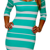Real Desire (Mint/White)-Great Glam is the web's best online shop for trendy club styles, fashionable party dresses and dress wear, super hot clubbing clothing, stylish going out shirts, partying clothes, super cute and sexy club fashions, halter and tube