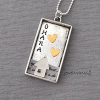 Ohana Custom Art necklace, personalized jewelry, special gifts,  hand stamped, ohana family necklace, limited edition, sweet home, heart