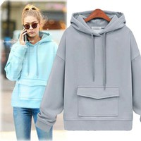Plus Size Women's Fashion Winter Hats Pullover Thicken Long Sleeve Hoodies [44574900249]