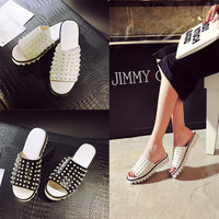 Stylish Design Summer Leather Slippers Platform Pearls Casual Flat Shoes Sandals [6050215361]