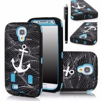 Galaxy S4 Case, E LV Samsung Galaxy S4 Case - Shock-Absorption / High Impact Resistant Bumper Hybrid Dual Layer Armor Defender Full Body Protective Case Cover (Hard Plastic with Soft Silicon) for Galaxy S4 / Galaxy i9500 with 1 Stylus, 1 Screen Protector a