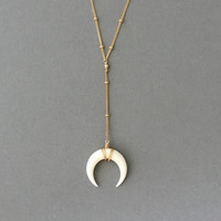 SMALL White Bone LARIAT Double Horn Gold Necklace // Crescent Moon