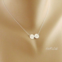 TWO Initial Charm Necklace, Tiny Monogram Disc Jewelry, STERLING SILVER, Mom and Child, Couple Jewelry, Sister, Best friends Necklace