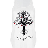 Once upon a time tree print urban Tank top vest womens ladies tshirt