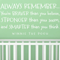 """Wall Vinyl Quote - """"Always Remember..."""" Winnie the Pooh"""