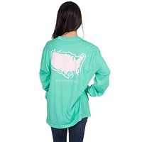 Sea to Shining Sea Long Sleeve Tee in Seafoam by Lauren James