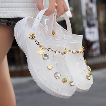 New ladies sandals gold chain heightened slippers hole shoes