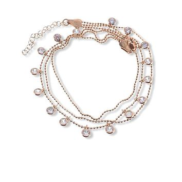 Clear Zirconia Three Strand Dangle Body Chain Adjustable Anklet Handcrafted 925 Sterling Silver Rose Gold,White Gold,14K Gold Option/s Available