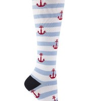 Sock It to Me Striped Anchor Knee High Socks