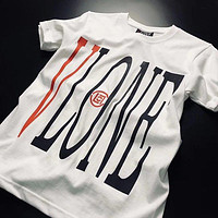 Vlone x Clot joint name letter big V limited round neck loose short-sleeved T-shirt F0529-1 white