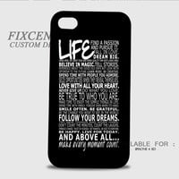 Life Quotes 3D Cases for iPhone 4,4S, iPhone 5,5S, iPhone 5C, iPhone 6, iPhone 6 Plus, iPod 4, iPod 5, Samsung Galaxy Note 4, Galaxy S3, Galaxy S4, Galaxy S5, BlackBerry Z10 phone case design