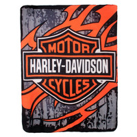 Harley-Davidson Biker Tattoo Blanket Fleece Throw
