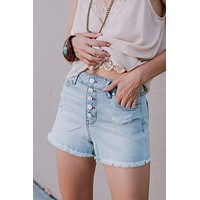 Practically Recognized Button Up Shorts - Light Wash
