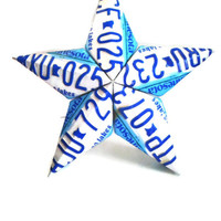 Minnesota Barn Star - License Plate Star - Blue and White Star - Reclaimed Metal Art - Indoor Outdoor Metal Star - 3 Dimensional Star