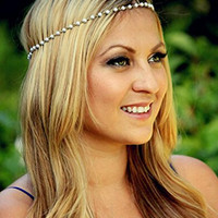 Bridalvenus Fasion Alloy Headband Pearls Jewelry Head Chain Head Piece for Women and Girls with Bead