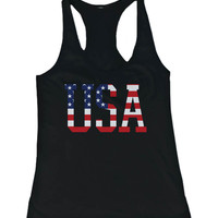 Women's Black Tank Top - American Flag USA Design Tanktop
