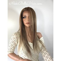 Light balayage straight lace front wig 20'