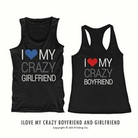 I Love My Crazy Boy and Girl Cute Matching His and Her Couple tanktops (Two tank tops)