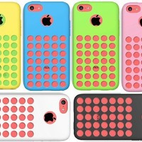 Iphone 5c Case,Pack 6pcs Holes Design Silicone Rubber Soft Protective Case Cover For Apple Iphone 5c Black White Blue Pink Yellow Green