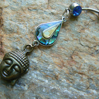 abalone  buddha belly ring  karma  in belly dancer Moroccan Bali indie new age  gypsy hippie boho and hipster style