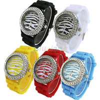 New Ladies Womens Candy Color Zebra Dial Silicone Jelly Wrist Watch Watches = 1956892228