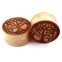"""Tree of Life Maple Wooden Plugs - 0g (8mm) 00g (9mm) (10mm) 7/16"""" (11mm) 1/2"""" (13mm) 9/16"""" (14mm) 5/8"""" (16mm) 3/4"""" 19mm 7/8"""" 22mm 1"""" 25.5mm"""