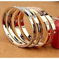 Cartier Trending star with the same titanium steel rose gold bracelet bracelet ring of eternal LOVE couple bracelet jewelry Golden G
