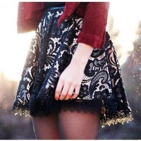 Ladakh Flare Skirt - Ladakh Leather and Lace Skirt- $48