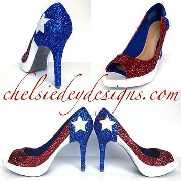 Chilean Flag Peep Toe Glitter Pumps - Red White Blue Open Toe Heels - Chile High Heels
